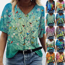 Women V Neck Short Sleeve T Shirt Casual Loose Blouse Floral Print Tunic Top Tee $14.49