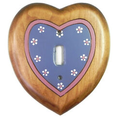 Vintage Signed Handcrafted Wooden Heart Rustic Country Single Light Switch Cover $9.99
