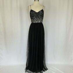 Adrianna Papell Women#x27;s Dress Size 8 Black Sequined Sleeveless Long Gown $199