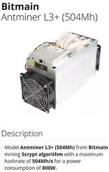 19 Antminer L3 504Mh s 5 S 9 14.5Th s with power units and power cords $12500.00