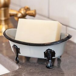 New Antique Style BLACK GRAY VINTAGE BATH TUB SOAP DISH Holder Sitter Container $8.99