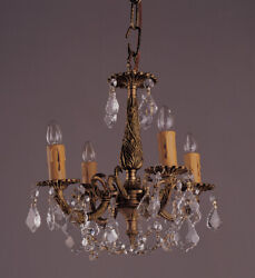 4 Light French Brass And Crystal Mini Chandelier $159.99