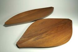 Pair MID CENTURY DANISH MODERN National Crafts Council NCC Japan TEAK Wood Tray $74.99