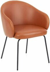 Modern Accent Chair PU Leather Back Black Metal Legs Home Living Dining Room $39.90