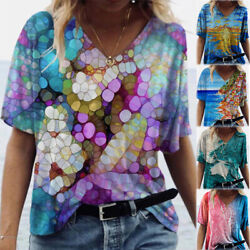 Women Short Sleeve V Neck T Shirt Casual Floral Tie Dye Printed Blouse Loose Top $15.18