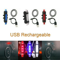 Pack of 4 LED Bicycle Tail Light Bike Rechargeable USB Safety Warning Rear Lamp $10.69
