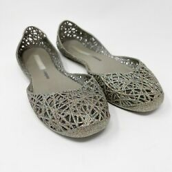 Women#x27;s MELISSACAMPANA Flat Shoes Size 9 Jellies Silver Rainbow Glitter $19.97