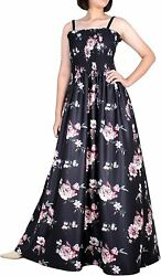 Women Plus Size Maxi Floral Black Dresses Summer Beach Evening Party Boho Prom