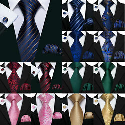 Barry Wang Silk Mens Ties Necktie Black Red Blue White Brown Gray Set Party USA $9.99