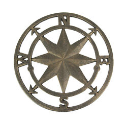 Antique Bronze Finished Cast Iron Compass Rose Wall Hanging 11.5 Inches In $29.98