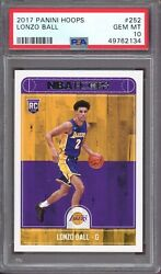LONZO BALL 2017 Panini Hoops Basketball #252 Rookie Card Graded PSA 10 GEM 134