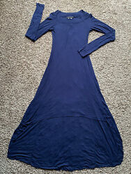 Women's Blue BCBG Maxazria Long Sleeve High Low Ribbed Dress Size M