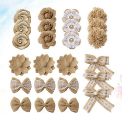 24pcs in 1 Set Burlap Flower Rustic DIY Linen Materials Decoration for Wedding $11.03