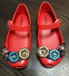 NEW Mini Melissa Mini Ultragirl X Mary Jane Flat Toddler Red Size 10 Lady Bug $69.99