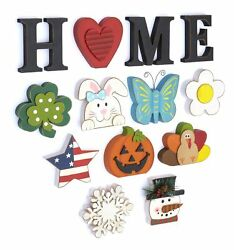 Wooden Decorative Home Signs with Letters Pumpkin Turkey Snowflake 13 Pc. $24.98