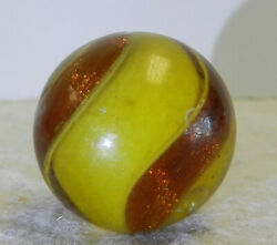 #12823m Vintage German Handmade Colored Glass Ribbon Lutz Marble .90 Inches $399.99