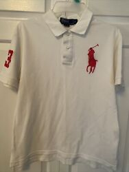 Ralph Lauren Polo Shirt White Women#x27;s S pink Big Pony Rugby Number 3 $23.35