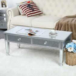FCH Mirrored Glass Coffee Cocktail Table Silver Living Room Accent Table US $151.99