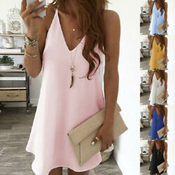 Summer Womens V Neck Solid Short Dress Casual Loose Beach Party Suspender Dress $13.99