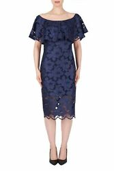 Joseph Ribkoff Navy Blue Off Shoulder Lace Overlay Cocktail Dress 191492 NEW $29.00