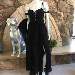 NEW Lush Maxi Dress Lace Up Side Slit with Shorts Black NWT Size Small $30.00