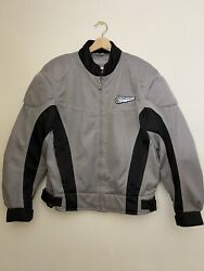 FIRST GEAR Men#x27;s Motorcycle Racing Jacket Padded Gray Silver Size Large $87.00