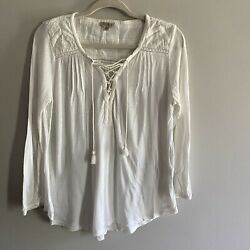 Lucky Brand Ivory Peasant Lace Tassel Front Women's Boho Embroidered Top Size S $18.99