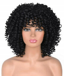 12#x27;#x27; Afro Wigs For Black Women Black Human Hair Afro Curly Wigs with Bangs $27.99