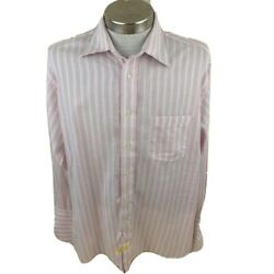 Burberry London Mens Dress Shirt Pink White Stripe Spread Collar USA Made 16.5 R $21.99