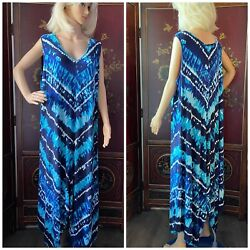 CATHERINES Women's Plus Size 3X LONG TIE DYED BOHO SLEEVELESS DRESS Blue NICE $23.88