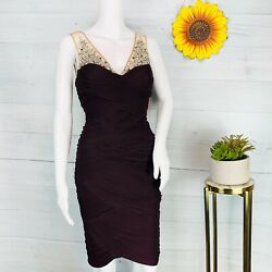 Adrianna Papell Womens Illusion Beading Cocktail Dress Above Knee Party Size 10 $46.99