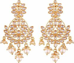 Kundan and Pearls Studded Zinc Gold Plated Chandelier Earrings for Women $14.99