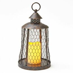 Solar Mesh Hanging Lantern for Outdoors with LED Candle $19.48