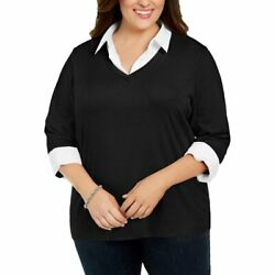 Karen Scott Women#x27;s Layered Cotton Top Pullover deep black Plus Size 3X