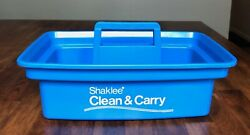 Rare Vintage Shaklee Blue Clean amp; Carry Plastic Bin Container with Handle $20.00