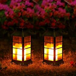 2 Pack LED Solar Lanterns Lights Outdoor Waterproof Flickering Flameless Candle $40.75