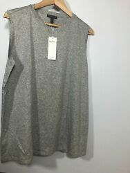 Eileen Fisher 1X Ribbed Tank MicroTencel Womens PLus Sleeveless Top GRAY $44.00