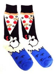 NEW Man Easting Pizza FineFit Novelty Crew Socks One Size Fits Most Adults $8.99