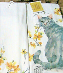 1 whole GREY CAT in the FLOWERS KITCHEN BATH SHOP COTTAGE quality HAND TOWEL $6.99