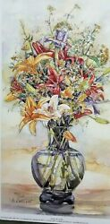 Vase of Lilies Art Ltd Ed Reproduction 6.75x12.5 Sold by Artist M Booth Cabot $35.00