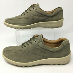 Hotter Womens 10 Lace Up Casual Sneakers Grey Leather Low Top Comfort Shoes $29.99