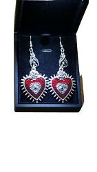 Gothic Red Heart Spiked dangling Hook earrings New In Gift box