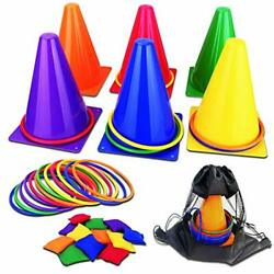 31PCS 3 in 1 Carnival Outdoor Games Combo Set for Kids Soft Plastic Cones $29.08