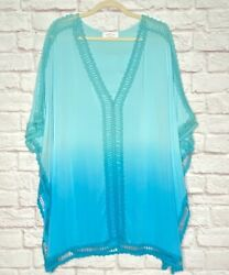 1X 2X 3X New Ombre Aqua Blue Crocheted Lace Beach Cover Up Top Dress $32.99
