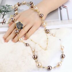 Party Women Camellia Long Double Layered Pendant Pearl Necklace FREE SHIPPING $8.64