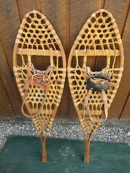 VINTAGE SNOWSHOES 42quot; Long x 12quot; Wide with Leather Bindings READY TO USE $59.97