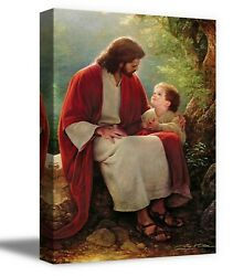 Christian Wall Art Home Workplace Décor Jesus and Little Boy Canvas $19.99