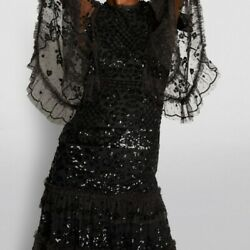 BHLDN Needle amp; Thread Melody Black Sequin Dress Gown fits size US 0 $639