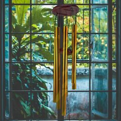 Wind Chimes Outdoor Large Deep Tone 33 Inches Memorial Wind Chimes 6 Tubes Gold $11.27