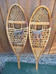 INTERESTING VINTAGE Snowshoes 40quot; Long x 11quot; with Leather Bindings DECORATIVE $49.80